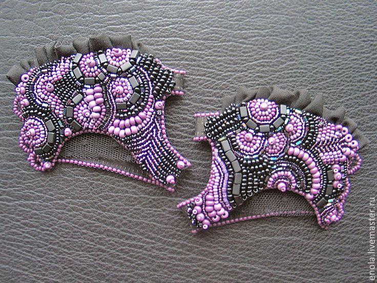 """Купить Браслет на ладонь """"Lavender Haze"""" - митенки, перчатки, браслеты, Вышивка бисером, бисер, украшения"""