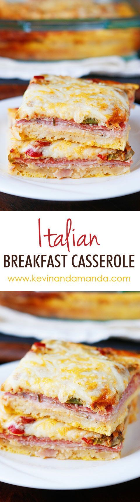 An easy, cheesy, Italian Breakfast Casserole. Layer crescent rolls, ham, salami, eggs, bell peppers and cheese, then bake for 30 mins.