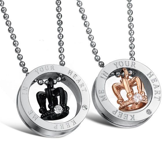 Couple Necklace Set - Keep Me In Your Heart Couple Necklace Set - Titanium Crown Necklace; Stainless Steel Jewelry, For Lovers; Gift Ideas