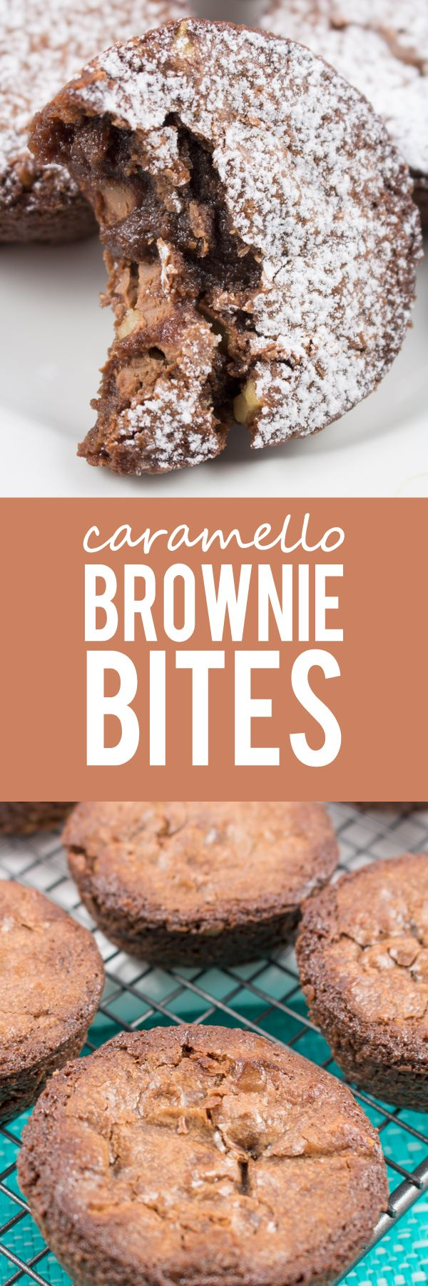 Caramello Brownie Bites - Chewy caramelized crust with gooey caramello chocolate center! Crazy good!! This brownie will change your life.