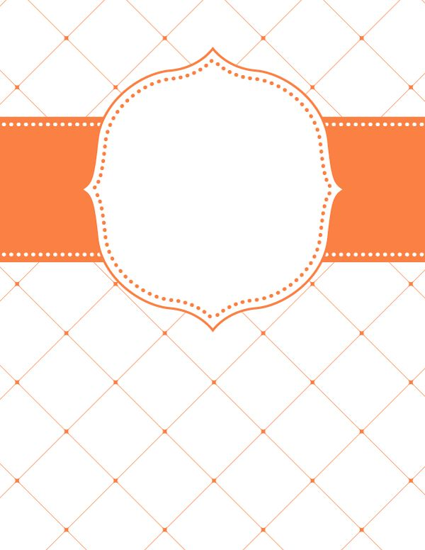 Free printable orange lattice binder cover template. Download the cover in JPG or PDF format at http://bindercovers.net/download/orange-lattice-binder-cover/