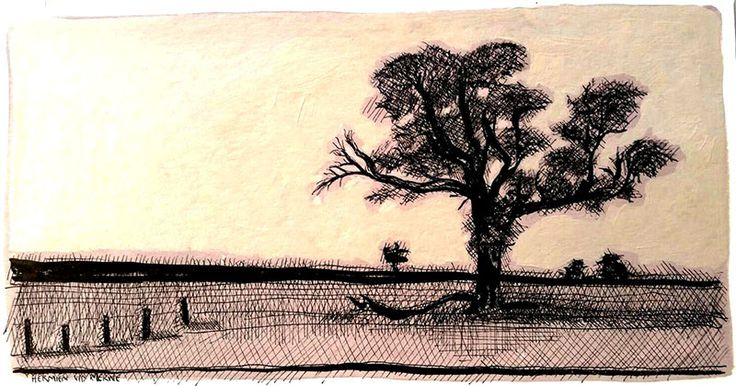 Title: Kgalagadi:  Polentswa  Medium: Pen-and-Ink drawing on Hahnemühle Cotton paper with oil paint background Size: : 400 x 210mm Artists thoughts: I enjoy drawing thorn trees from desert areas:  Acasia and Camel Thorn trees. ( Our family often visits the Kalahari desert for holidays.) The pen-and-ink medium links well with the thorny subject matter.  The thorns reminds me that Jesus is crowned as King.