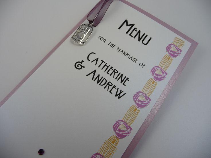 Rennie Mackintosh and birdcage themed Wedding Breakfast Menus