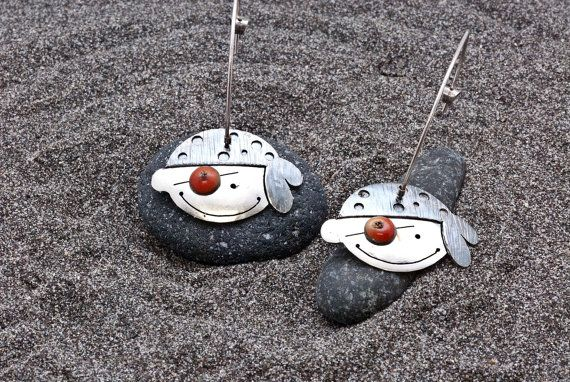 Unique Pirates Earrings Sterling Pirate Face by AllAboutSeas