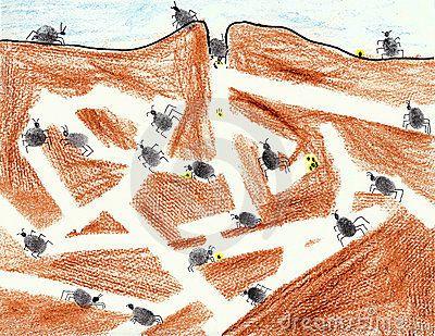 De Kolonie van de Mier: bruin papier, witte stroken er op plakken, met vingerverf mieren maken