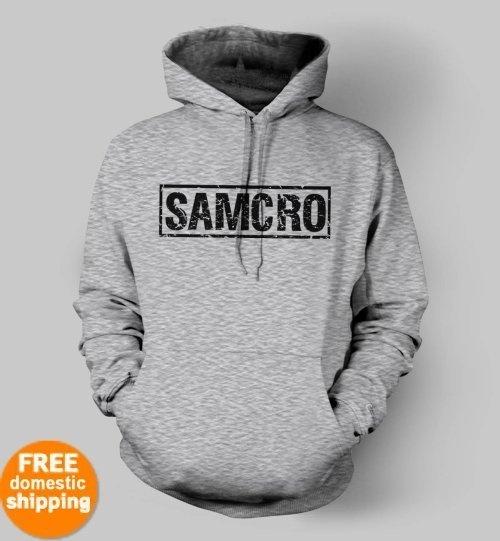SAMCRO black logo Hoodie Sons of Anarchy California biker fan hooded sweatshirt $34.85 at TeesRus available in yellow, blue, pink, green, grey