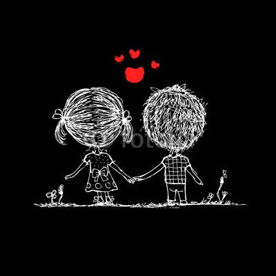 Fototapete - Couple in love together, valentine sketch for your design