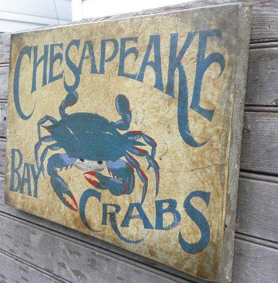 Crab Sign hand painted Chesapeake Bay Blue by ZekesAntiqueSigns, $58.00