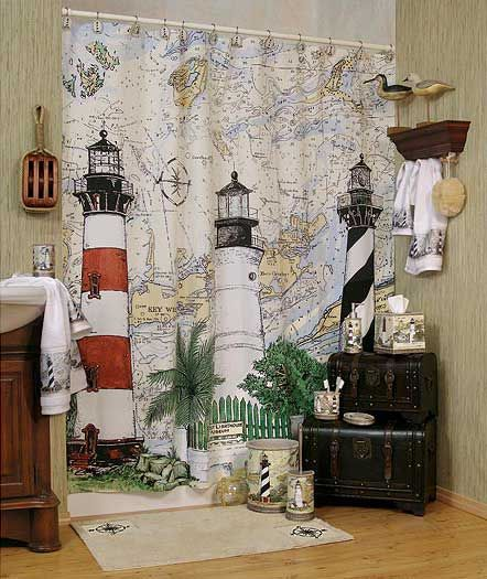 New For 2008 Is The Harbour Lights Nautical Themed Bathroom Shower Curtain And Matching Accessories