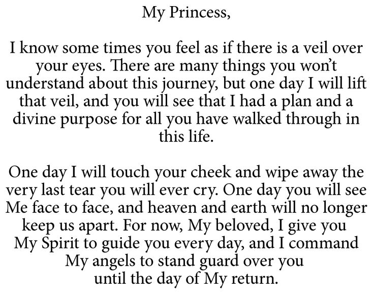 To My Princess. A beautiful picture of God's love for a daughter. Very comforting