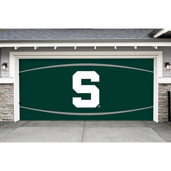 Michigan State Spartans 7 X 16 Double Garage Door Decor Michiganstatespartans Garage Door Decor Door Murals Vinyl Banners