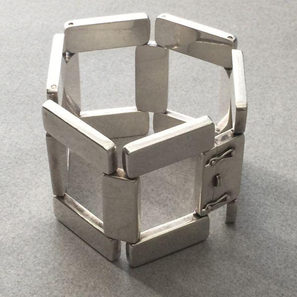 Georg Jensen Sterling Silver Modernist Bracelet No. 195 by Astrid Fog, Handmade Sterling Silver - Gallery 925