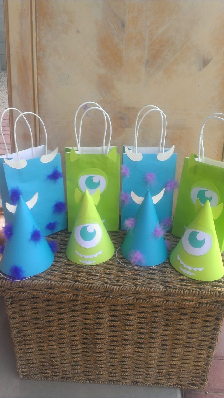 Do it yourself Monsters Inc Birthday Party Bag and Hats idea