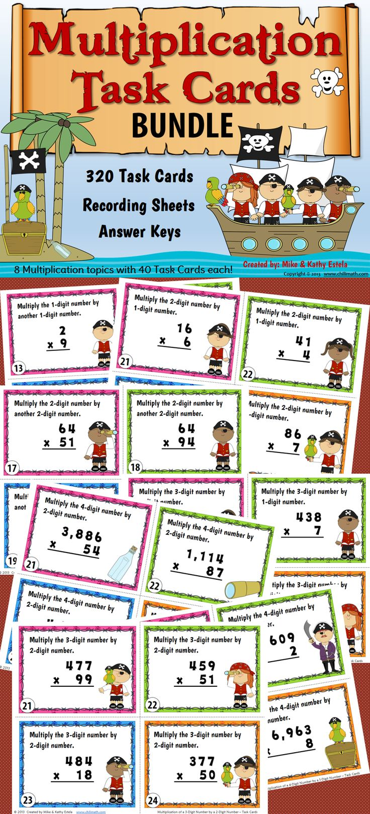 Save 20% on this Multiplication Task Cards BUNDLE! It has a total of 320 task cards which you may assign for individual practice, as a pair/group activity, or use in a scoot game with your students. $