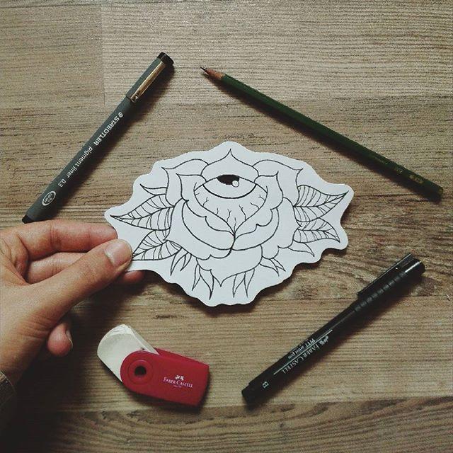 https://www.instagram.com/timmy.senf.illustration/ outlines drawing black rose eyeball eyes tattoo tattoodesign neotraditional classic zeichnung vsco vscocam instagood instaart wood leafs creepy weird artist art design workinprogress wip