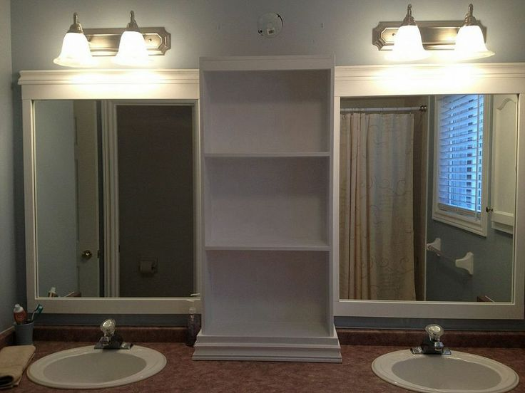 hometalk large bathroom mirror redo to double framed mirrors and cabinet