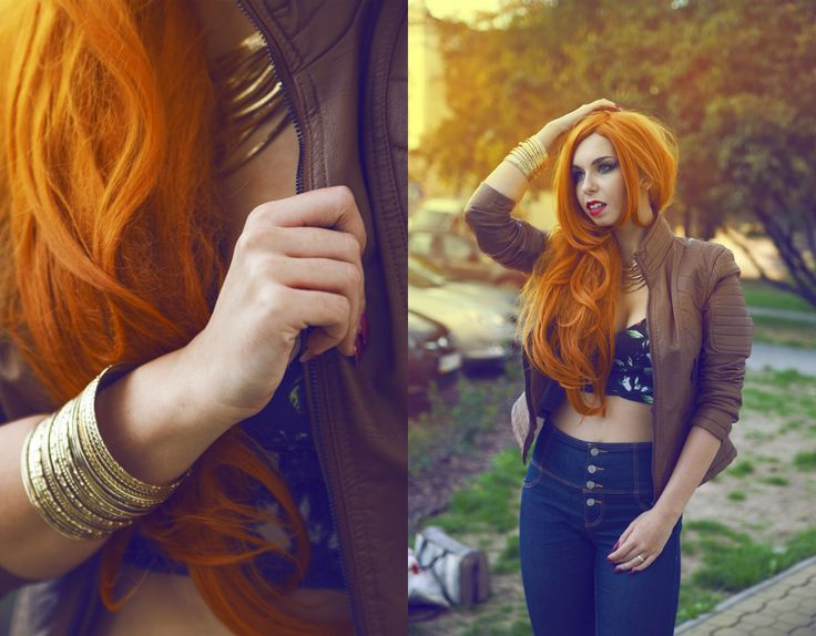 scandalouslyshe.eu Check me out on lookbook: http://lookbook.nu/milenacorleone #classy #elegant #chic #autumn #redhead #ginger #gingerhair #gold #jewellery #fashion #jacket #leather #flowers #floral #pullandbear #terranova #jeans #highwaist #highwaisted #outfit #look #wig #lushwigs #model #blogger #fashion #fashionable