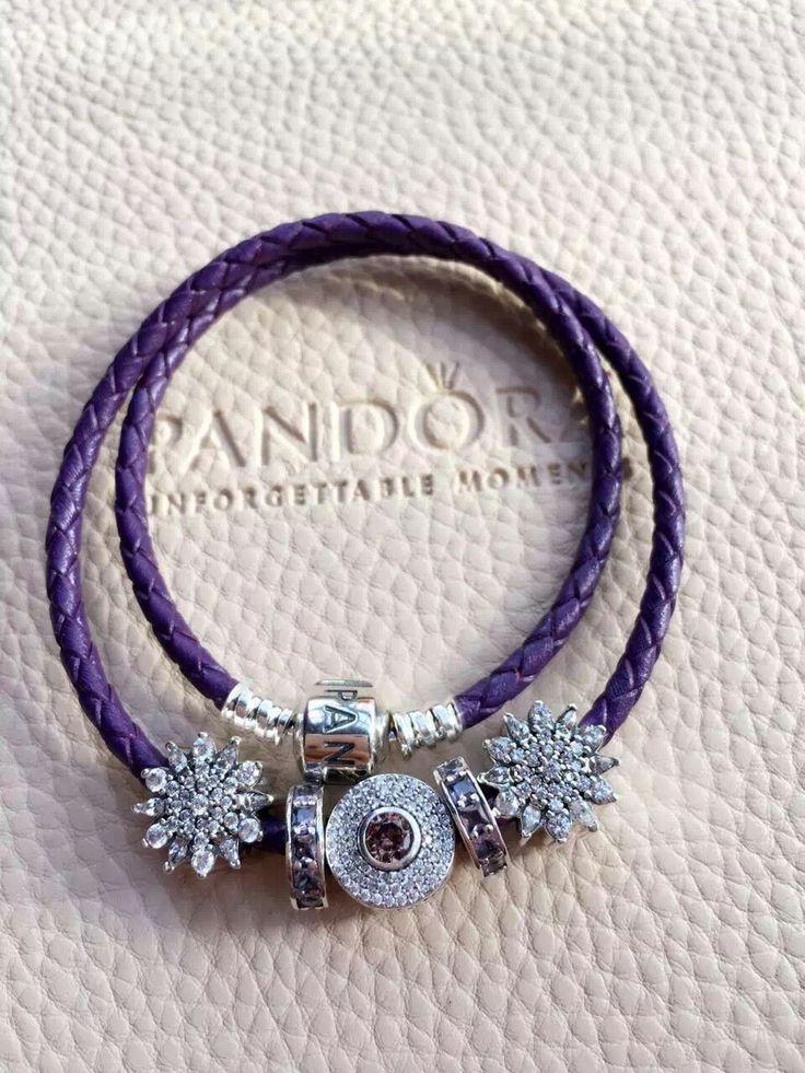 50% OFF!!! $179 Pandora Leather Charm Bracelet Purple. Hot Sale!!! SKU: CB02109 - PANDORA Bracelet Ideas