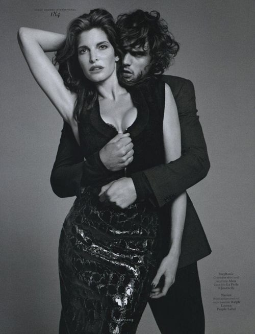 Stephanie Seymour and Marlon Teixeira deliver a scalding, sensual editorial that transcends Terry Richardson's typical lack of sensual empathy behind the camera in 'A Man and A Woman' lensed for Vogue Hommes International. About twice Marlon's age, Stephanie dials up the heat in men's sexual fantasyland and Marlon delivers a totally believable response.