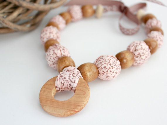 Hey, I found this really awesome Etsy listing at https://www.etsy.com/listing/176289184/pink-fabric-covered-beaded-necklace-eco