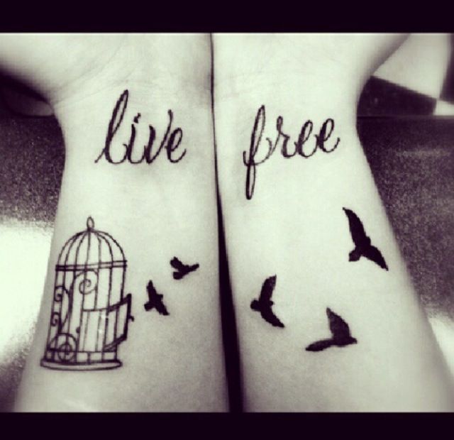 My new tattoo will look something like this. Without the text and the birds will look different (and the cage).