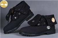 Custom Black Timberland Roll Top Boots Classic Waterproof Mens