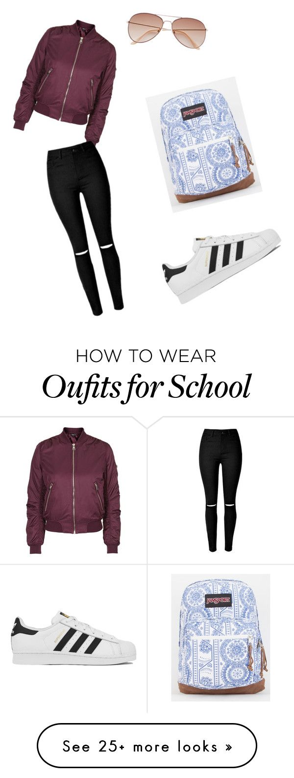 """School day"" by itsnena30 on Polyvore featuring JanSport, Topshop, H&M and adidas"