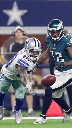 Eagles vs. Cowboys:  October 30, 2016  -   29-23, Cowboys  -       Dez Bryant #88 of the Dallas Cowboys dives for the ball as Nolan Carroll #22 of the Philadelphia Eagles defends in the first quarter during a game between the Dallas Cowboys and the Philadelphia Eagles at AT&T Stadium on October 30, 2016 in Arlington, Texas.