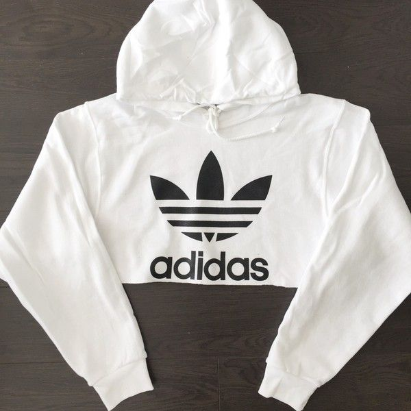 Reworked Adidas Logo Crop Hoody White ($48) ❤ liked on Polyvore featuring tops, crop top, adidas, white crop top, logo top and cut-out crop tops