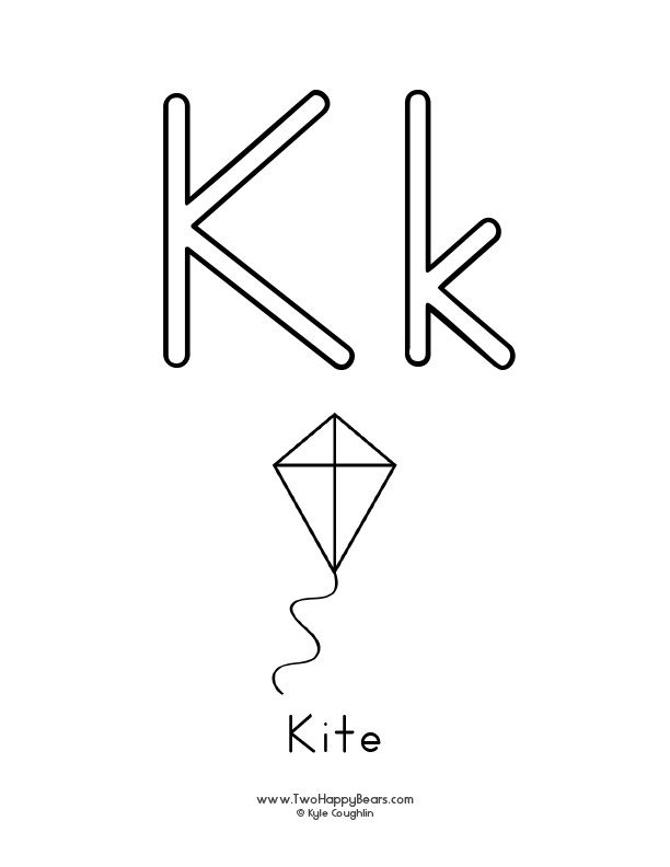 Free Printable Coloring Page For The Letter K With Upper And Lower Case Letters And A Picture Of A Kite To C Learning Letters Free Printable Letters Lettering