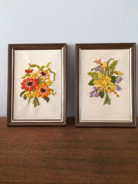 vintage framed floral crewel work embroidered wall on wall hangings id=95132