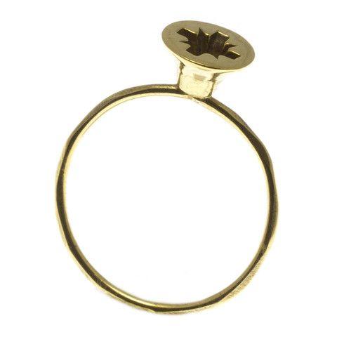 CCK, Stjerneskrue Ring, forgyldt sølv