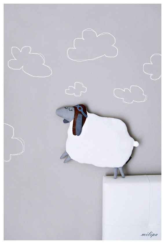 "WILBUR the AVIATOR, sheep, lamb, plush sheep, sheep pillow, lamb pillow, stuffed sheep, stuffed animals, stuffed toys, white, gray, 16""/40cm"