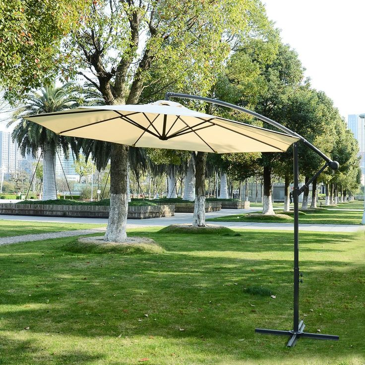 High Quality Outsunny 3m Garden Parasol Sun Shade Patio Banana Hanging Rattan Set  Umbrella Cantilever Cream: Amazon