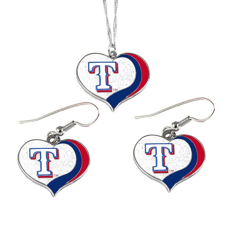 Aminco MLB Texas Rangers Sports Team Logo Glitter Heart Necklace and Earring Set Charm Gift