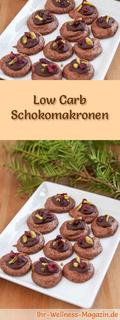 #Plätzchen backen ~ Low-Carb-Weihnachtsgebäck-Rezept für Schokomakronen: Kohlenhydratarme, kalorienreduzierte Weihnachtskekse - ohne Getreidemehl und Zucker gebacken ... #lowcarb #backen #weihnachten