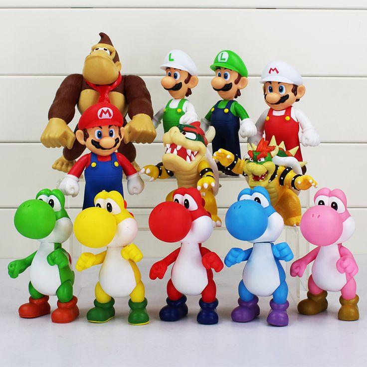 8 ~ 15 cm Super Mario Bros Bowser Koopa Yoshi Mario Luigi Donkey Kong PVC Şekil Oyuncaklar Model Bebekler