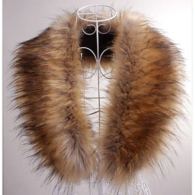 Fur Wraps / Fur Accessories / Faux Leather Collars Sleeveless Faux Fur Brown…