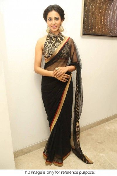Bollywood Style Sargun Mehta Net Saree In Black Colour NC1839