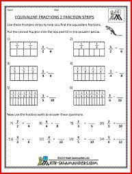 Equivalent Fractions 2, a math fraction worksheet for 4th graders