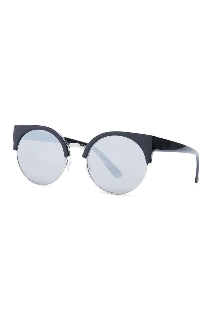 Primark - Black Flat Mirror Round Sunglasses