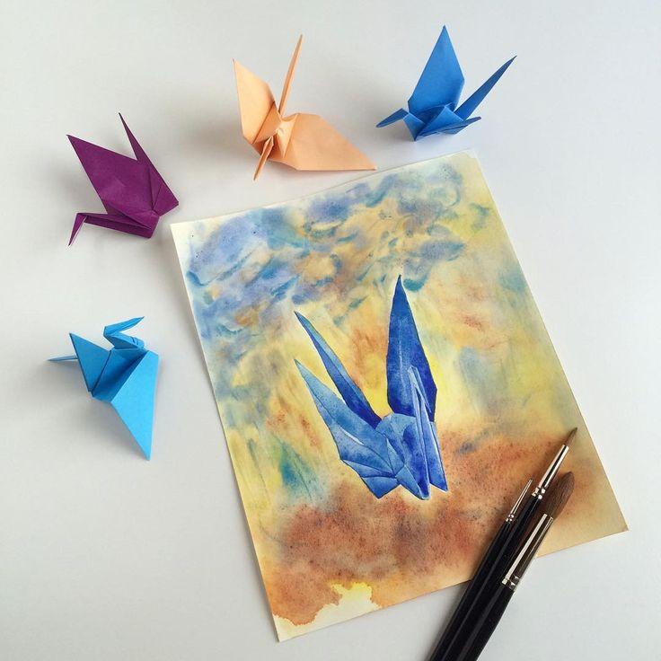 Crane no. 10: Standing strong - original painting by Zoya Makarova