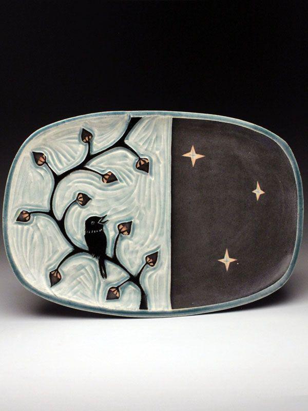 Ruchika Madan Plate with Nightingale on a Vine at MudFire GalleryPottery Ideas, 도자기에 그리기, Ceramics Clay, Madan Plates, Birds Reference, Mudfire Gallery, Birds Of A Feathe, Ruchika Madan, Ceramics Inspiration