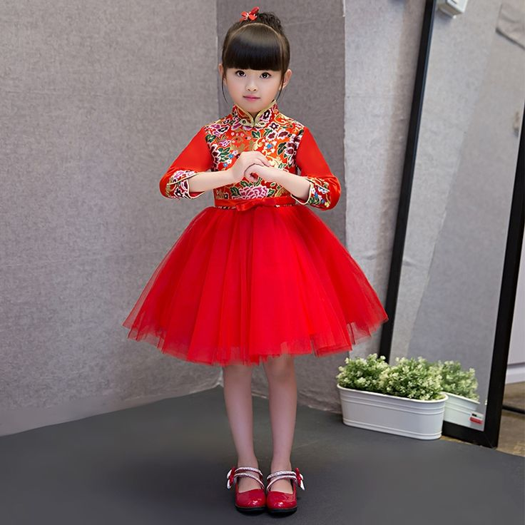 44.26$  Watch here - http://alit7o.shopchina.info/go.php?t=32792967706 - 2017 New Red Chinese  Baby Girl Cheongsam Dress Qipao Girls Dresses for Party Kids Brithday Clothing New Year Child Clothes  44.26$ #aliexpressideas