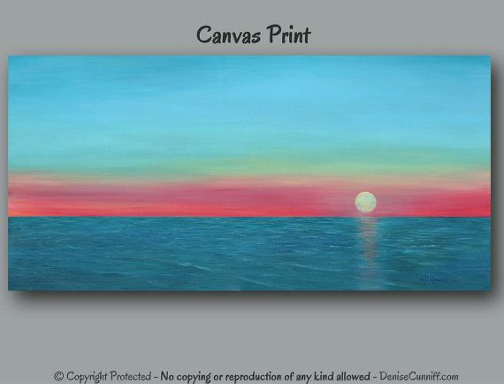 Large canvas wall art, Sunset seascape art, Turquoise and teal decor, Coral tangerine teal blue artwork, Large canvas print, Living room art