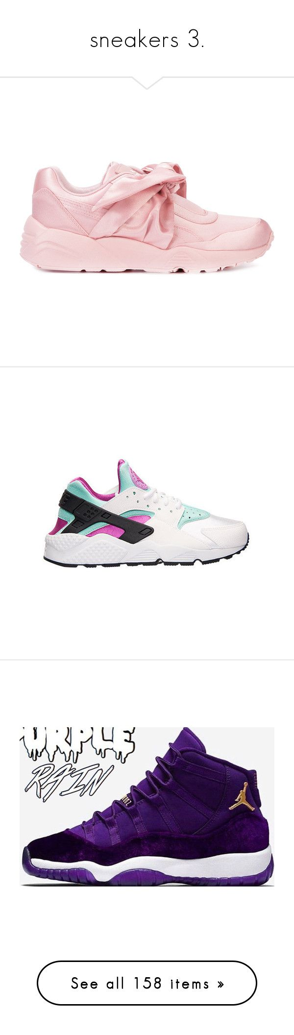 """""""sneakers 3."""" by yeauxbriana ❤ liked on Polyvore featuring shoes, sneakers, bow shoes, puma shoes, puma footwear, puma trainers, puma sneakers, black gold sneakers, nike and nike sneakers"""