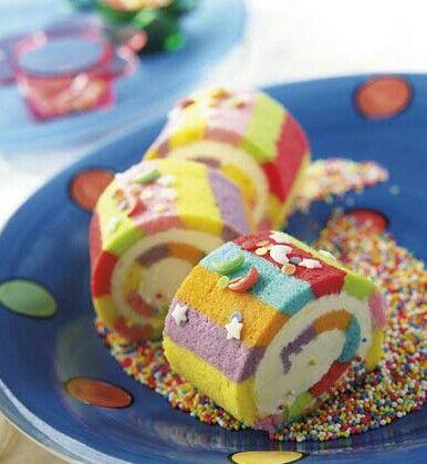 Pretty rainbow roll cake