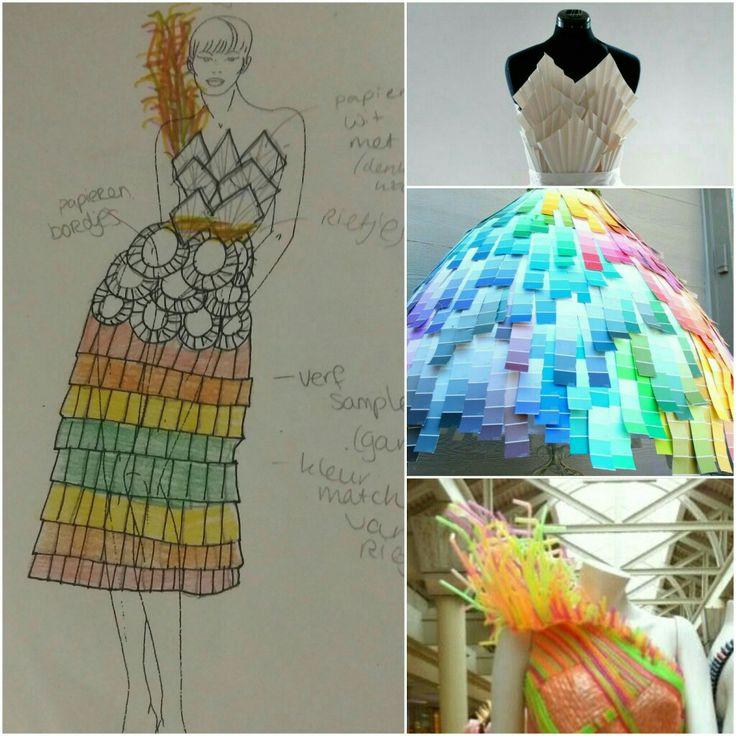 Aantal inspiratie plaatjes naast het ontwerp. Uitleg: Ik kwam een foto tegen met de verf samples in de vorm van een jurk (middelste foto), dit vond ik zo leuk dat ik daar mijn jurk op gebaseerd heb, felle kleuren en alledaagse producten