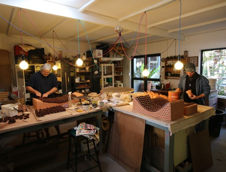 Where the work gets done - the central part of the studio;  with Alessandro Pappada