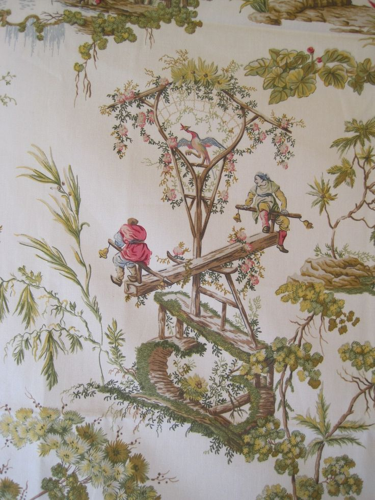Decorator Fabric Home Decor Upholstery Drapery Chinoiserie Asian Toile